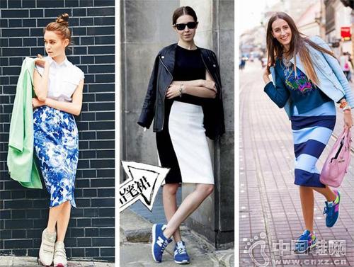 鉛筆裙+運動鞋=潮流搭配