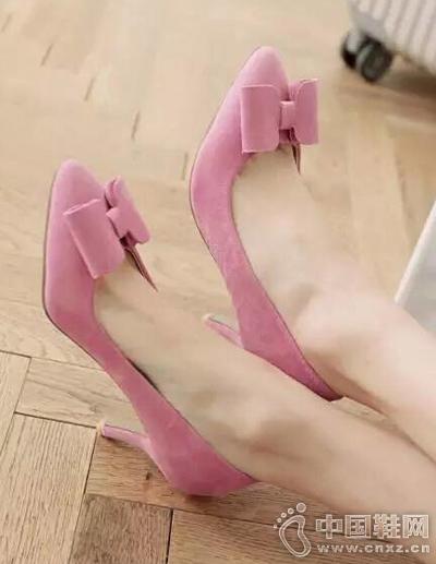 性感绒面蝴蝶结细跟高跟鞋