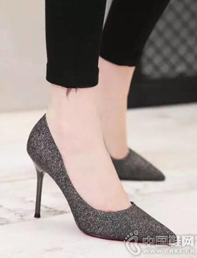 尖头细跟浅口高跟鞋夜店鞋
