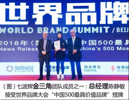 """七波輝再度榮膺世界品牌大會""""中國500最具價值品牌"""""""