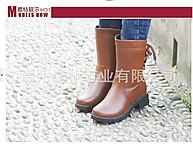 �S家直�N �n版雪地靴 保暖中筒靴牛皮毛防滑女靴 雪地靴 6802