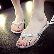 耐恋女鞋2015夏季新款甜美水钻T型拖鞋编织亮片平底凉拖