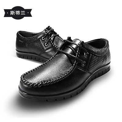 斯帝兰英伦商务系带透气头层牛皮男鞋