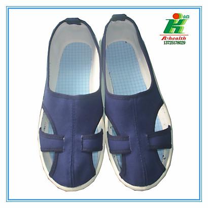 防静电蓝色帆布套带四眼鞋子