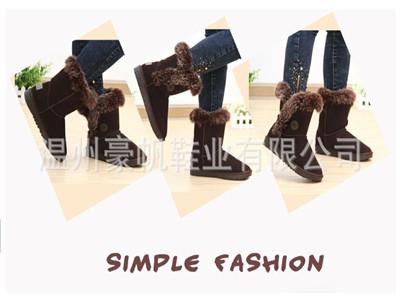 2013冬季中筒女靴 牛皮毛雪地靴 专柜正品保暖靴 多色可选 6801