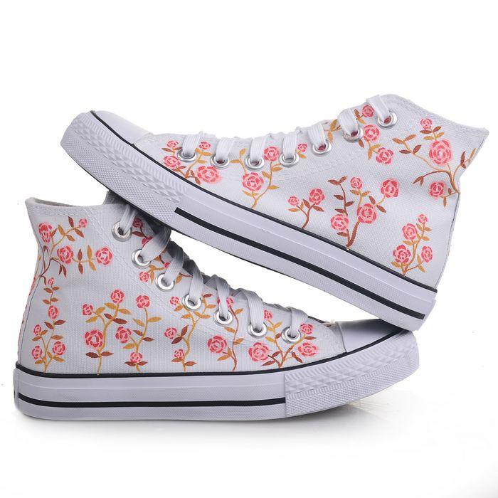 漫儿手绘新款 城市公主 新潮时尚手绘鞋帆布鞋休闲涂鸦鞋
