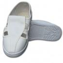 供应防静电革鞋,四孔鞋,革面四孔PU底