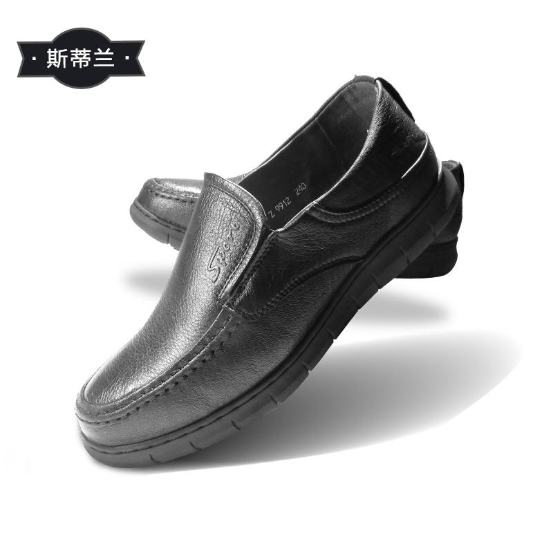 斯帝兰新款男式休闲头层牛皮套脚鞋