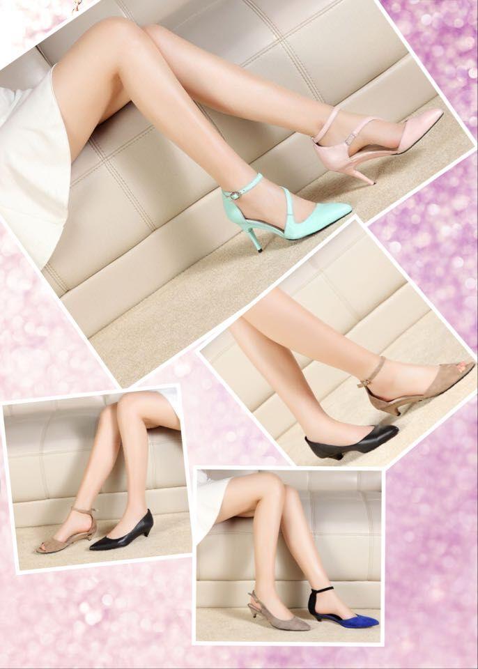 新创意折叠鞋跟变换低跟时装女鞋