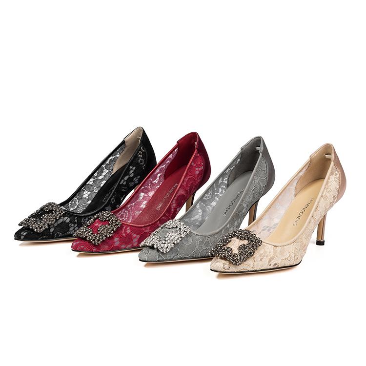 蕾丝尖头高跟鞋加工定制厂家