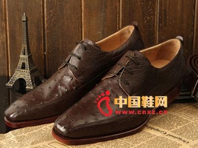 肯迪凯尼2013秋冬新款男鞋,手工定制驼鸟皮鞋