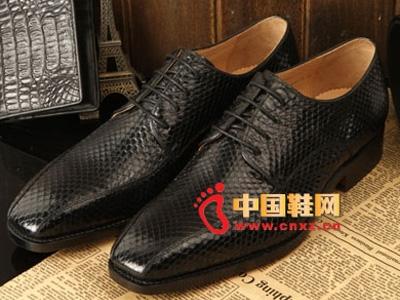 肯迪凯尼2013秋冬新款男鞋,手工定制高档蛇皮皮鞋