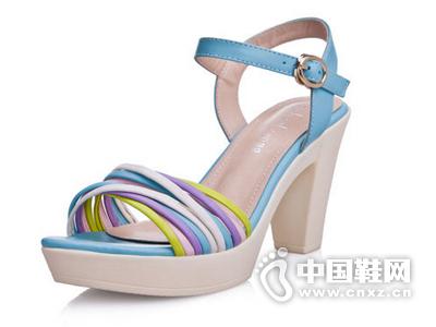 如熙2015夏季新款女鞋潮甜美凉鞋粗跟防水台女式鞋高跟鞋女夏鞋子