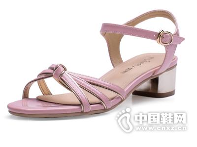 如熙2015夏季新款女韩版时尚拼色中跟方跟女鞋舒适搭扣凉鞋