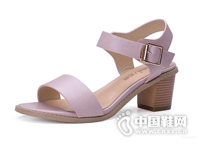 如熙2015夏季新款简约女鞋韩版时尚粗跟高跟露趾搭扣凉鞋女