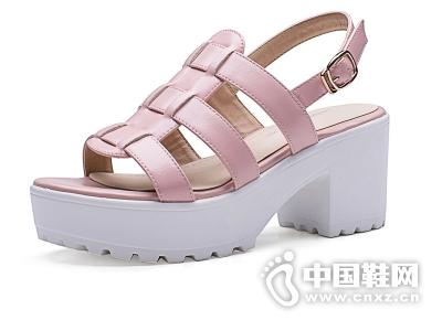 如熙2015夏季新款防水台英伦风粗跟高跟搭扣露趾时尚女凉鞋