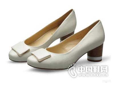 曼仙妮2015春季新款高跟单鞋粗跟圆头休闲真皮浅口鞋女鞋