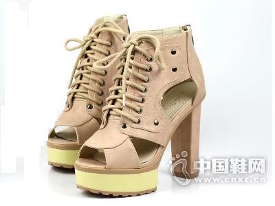 雨薇露露新款罗马风女鞋性感超高跟防水台后拉链高帮鱼嘴凉鞋