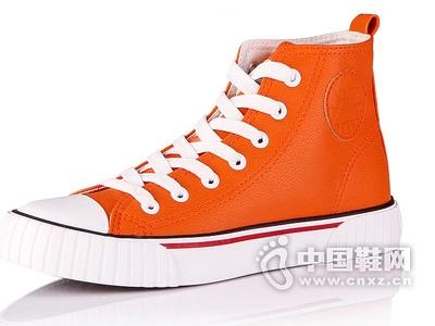 好啦新款欧美复古高帮鞋圆头系带交叉绑带女鞋休闲学院PU帆布鞋