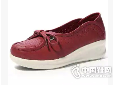 金靴世家新款透气休闲鞋真皮坡跟女式单鞋