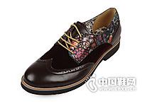 马克华菲 男式新款胶粘皮面拼接系带式复古印花鞋