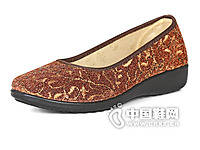 老美华黑色圆头平跟布鞋中老年鞋女士女鞋