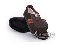 一步赢新款布胶鞋深棕色