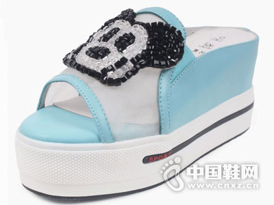 艾熙女鞋2016松糕凉鞋坡跟新款