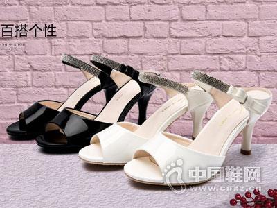 展风时尚女鞋2016鱼嘴细跟凉鞋