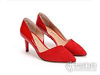 SENSE1991夏季新款羊皮拼接优雅高跟单鞋