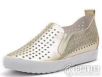 百田森女鞋2016夏季坡跟镂空休闲鞋