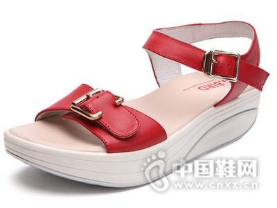 吉祥鸟2016夏真皮凉鞋摇摇鞋厚底松糕休闲运动时尚女鞋
