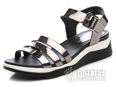 印心鸟2016夏季新款坡跟学生凉鞋浅口中跟鞋韩版露趾拼色搭扣女鞋