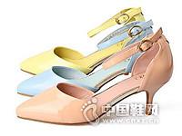 欧罗巴2016春夏新品性感尖头酒杯跟中空一字扣带金属装饰女鞋凉鞋