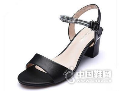 富贵鸟2016夏季新品凉鞋撞色粗跟甜美优雅女凉鞋真皮露趾女高跟鞋