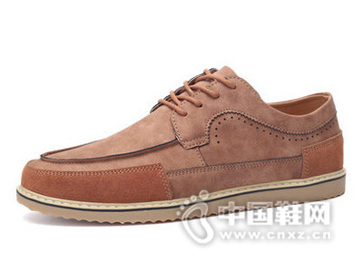绅诺2016青年休闲皮鞋时尚雕花布洛克男鞋