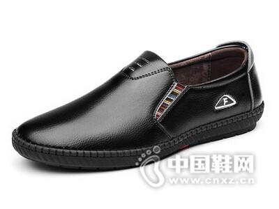 绅诺2016休闲皮鞋黑色真皮商务鞋