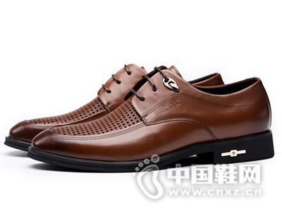 圣高2016透气镂空皮鞋男士商务英伦真皮皮鞋