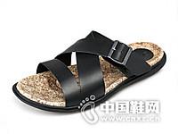 威戈2016真皮透气防滑软木休闲沙滩鞋