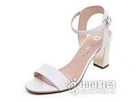 达芙妮2016夏季新款时尚露趾方跟粗高跟一字扣女凉鞋