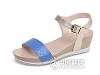 达芙妮2016夏季新款优雅一字带坡跟厚底女凉鞋
