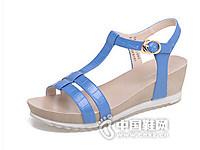 达芙妮2016夏季新款休闲纯色坡跟丁字扣女凉鞋