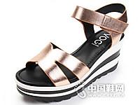 沃格2016时尚坡跟松糕舒适休闲女凉鞋