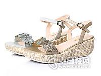 百丽2016夏季羊皮革镂空女凉鞋坡跟厚底松糕中跟凉鞋