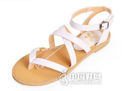 琪可朵2016夏季新款平底凉鞋罗马皮带扣夹趾女鞋