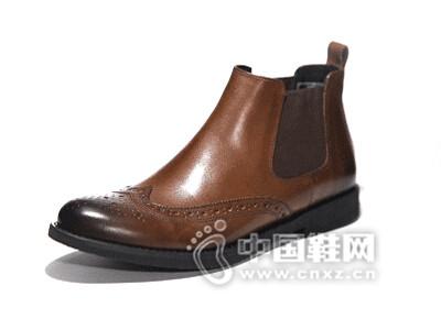 朗蒂维2016布洛克雕花短靴百搭皮靴