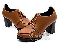 巨圣2016尖头系带侧拉链深口单鞋