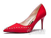 香香莉2016铆钉尖头细跟单鞋