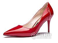 香香莉2016裸色漆皮尖头单鞋
