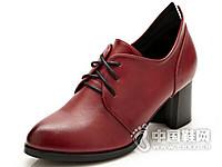 巨日2016复古擦色系带女款单鞋